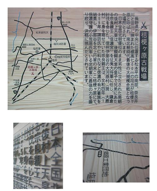 木製の案内板・縁起