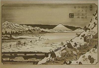 透かし彫り・英泉・木曾街道六十九次/塩尻峠諏訪湖眺望