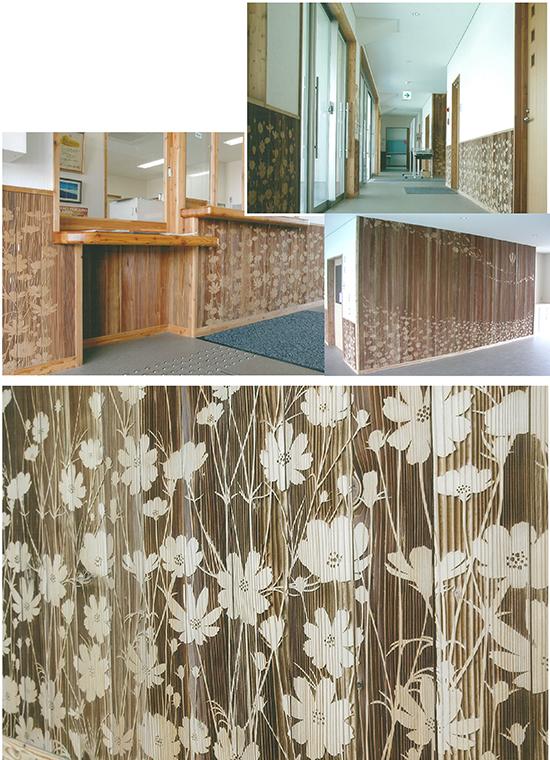 木彫りの内装