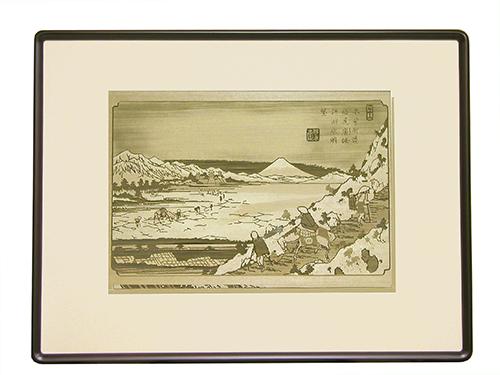 透かし彫り・木曾街道「塩尻峠諏訪湖眺望」